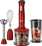 Russell Hobbs 24700-56 Stabmixer 3-in-1 Desire, Schneebesen, Messbecher, für Smoothie, Suppen und Babynahrung, rot/schwarz