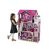 KidKraft 65093 Amelia Puppenhaus aus Holz mit Zubehör für 30cm große Puppen mit 15 Accessoires und 3 Spielebenen