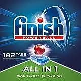 Finish All in 1 Spülmaschinentabs, Geschirrspültabs für kraftvolle Reinigung, Geschirrspülmittel, Quartalspack, Gigapack, 182 Tabs