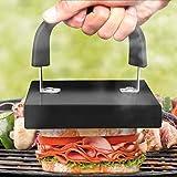 Broil-Master Grill Hand-Presse mit Griff   Größe: 20 x 15 x 14cm, Emaille Beschichtet   Fleischpresse, Sandwichtoaster, Speckpresse, Burgerpresse, Grillzubehör