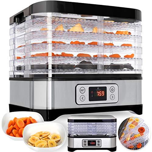 Kesser Dörrautomat | mit digitaler LCD Temperaturregler | + Rezeptheft | Dörrgerät für Lebensmittel | Obst- Fleisch- Früchte-Trockner | Dehydrator, BPA-frei, 5 Etagen 250W/LCD Edelstahl Silber